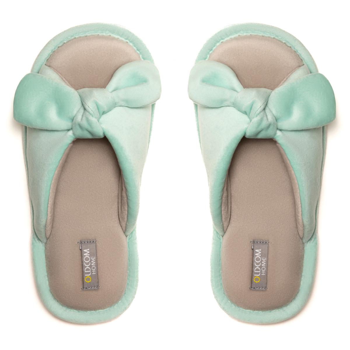 Kid's home slippers BUNNY, Mint/Beige
