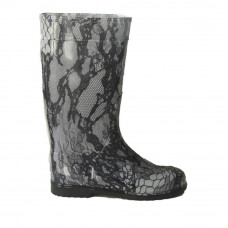 Women's High Wellies with print, Black Lace