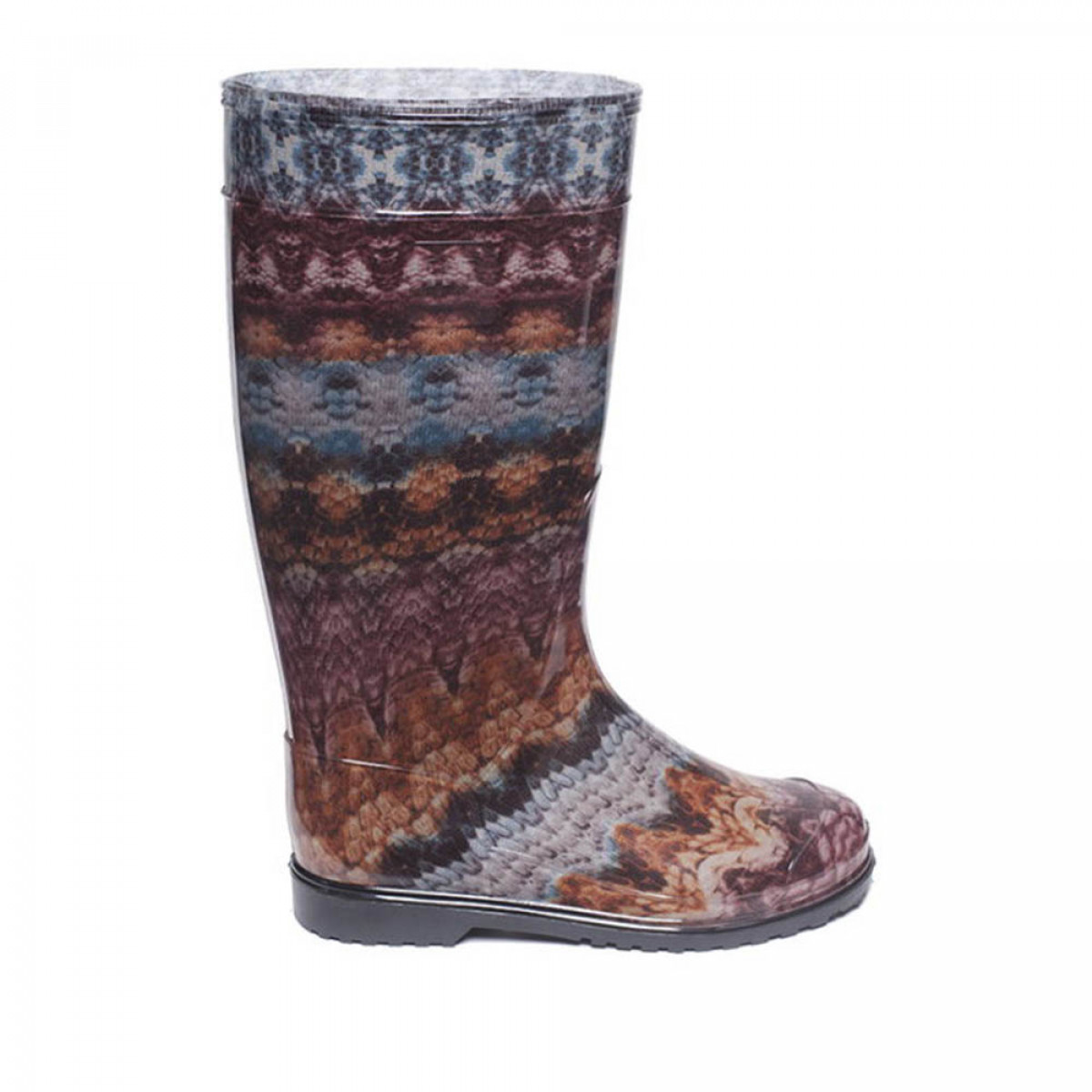 Women's High Wellies with print, Brown lace