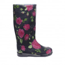 Women's High Wellies with print, Roses on black