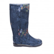 Women's High Wellies with print, Jeans with flowers