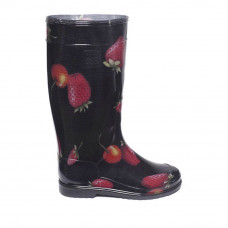 Women's High Wellies with print, Strawberries on black