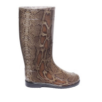 Women's High Wellies with print, Brown Python