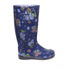 Women's High Wellies with print, Rosehip on blue