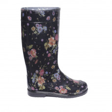 Women's High Wellies with print, Rosehip on black
