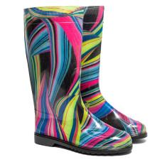 Women's High Wellies with print, Rainbow