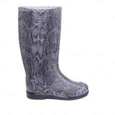 Women's High Wellies with print, Silver Python